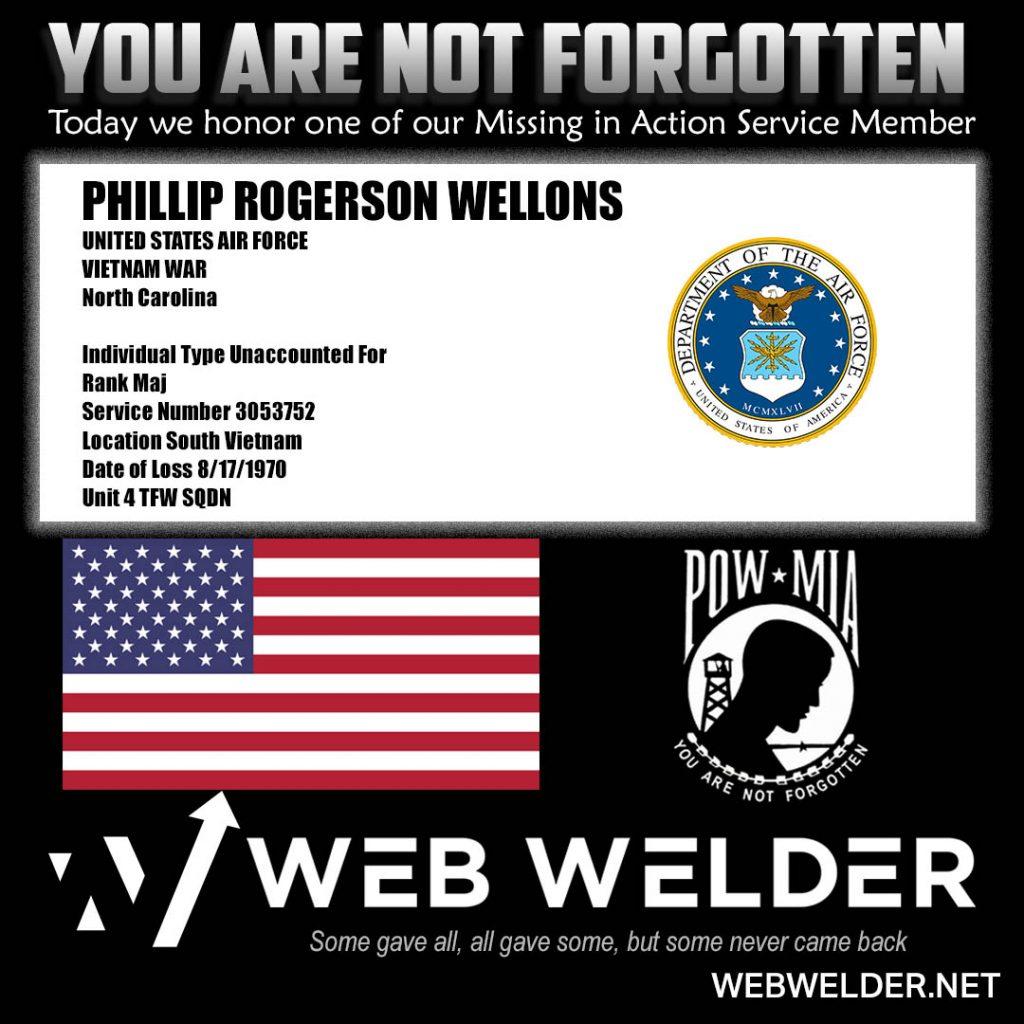 POW-MIA-PHILLIP ROGERSON WELLONS