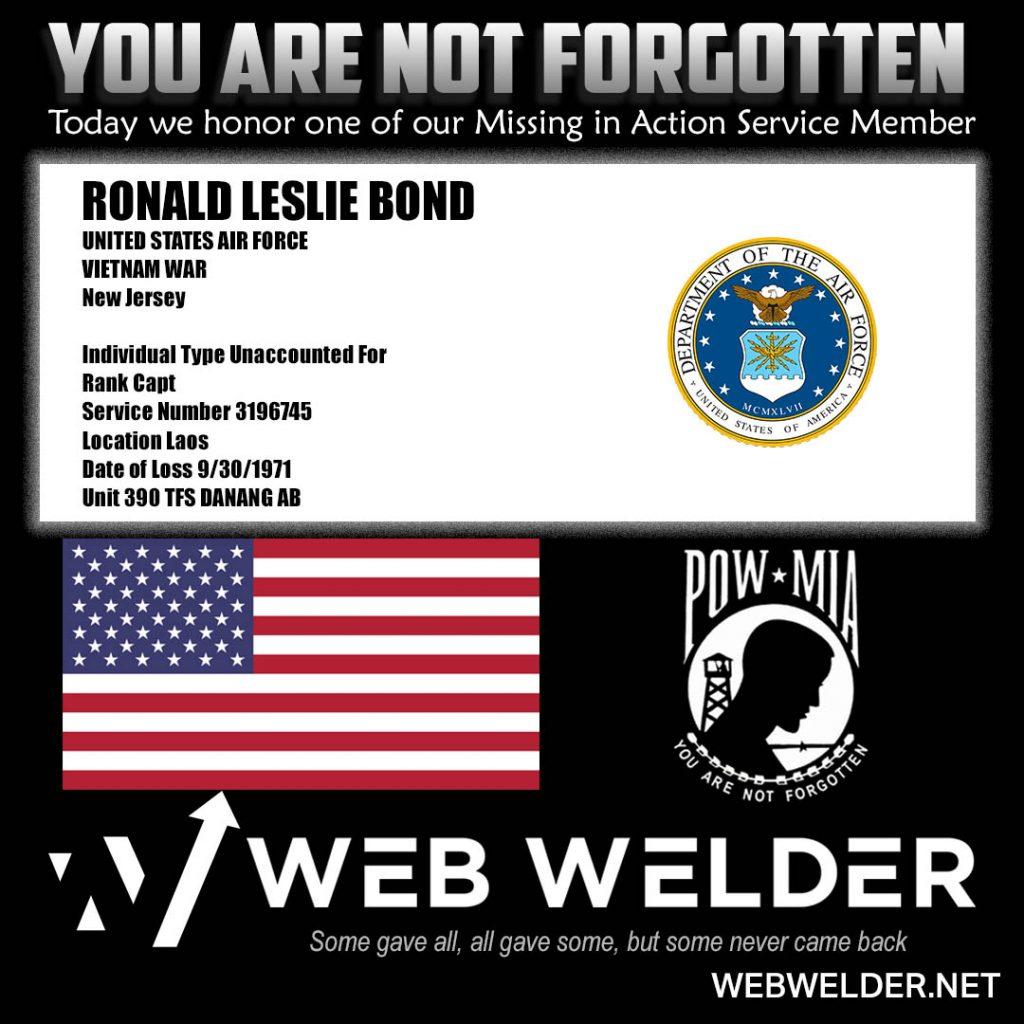 POW-MIA-RONALD LESLIE BOND
