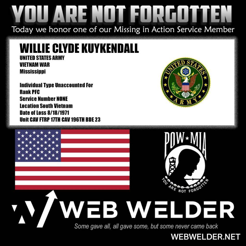 POW-MIA-WILLIE CLYDE KUYKENDALL