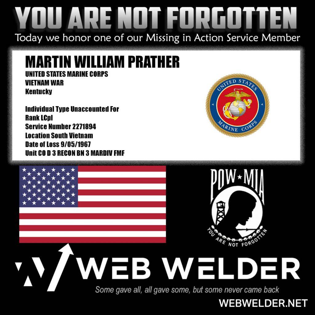 POW-MIA-MARTIN WILLIAM PRATHER