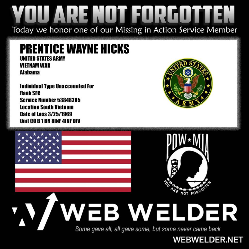 POW-MIA-PRENTICE WAYNE HICKS